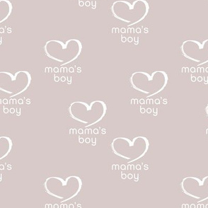 Soft vintage boho style mama's boy mother's day design with hearts soft beige