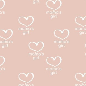 Soft vintage boho style mama's girl mother's day design with hearts blush peach girls