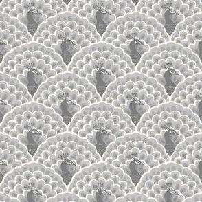 Art Deco peacock scallop - grey