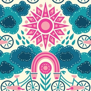 Bicycles + Rainbows Large Scale Bright Pink Blue