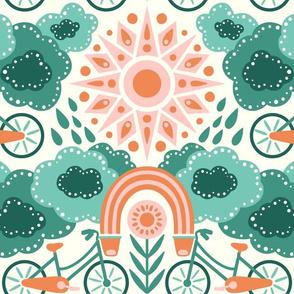 Bicycles + Rainbows Large Scale Teal Orange