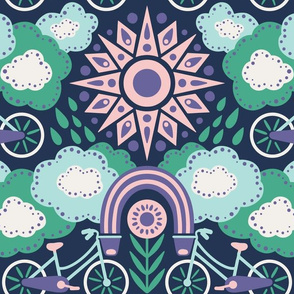 Bicycles + Rainbows Large Scale Purple Green Blue Pink