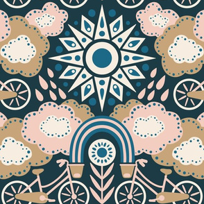 Bicycles + Rainbows Large Scale Navy Blush