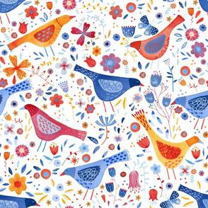 Watercolor Birds in a Garden Bright