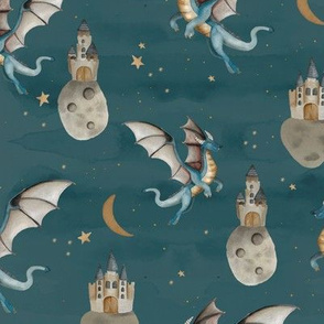 Fantasy watercolor dragons and floating magic castles universe dream moon and stars night blue ochre