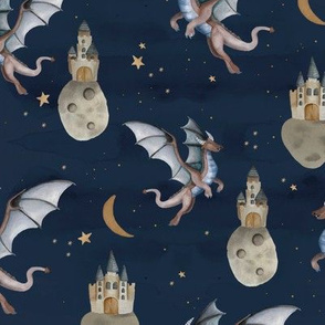 Fantasy watercolor dragons and floating magic castles universe dream moon and stars night navy blue purple golden