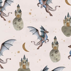 Fantasy watercolor dragons and floating magic castles universe dream moon and stars night ivory blue neutral