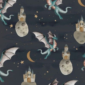 Fantasy watercolor dragons and floating magic castles universe dream moon and stars night moody blue stone sky teal purple