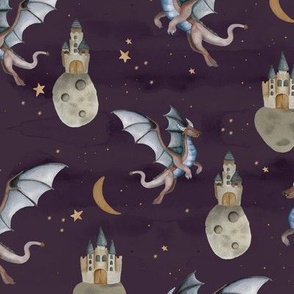 Fantasy watercolor dragons and floating magic castles universe dream moon and stars night moody blue stone sky dark purple blue neutral