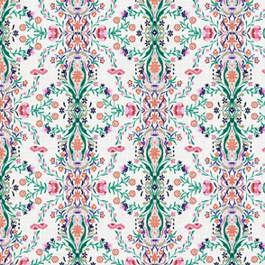 Indian Damask Colorful (White) - Small Scale