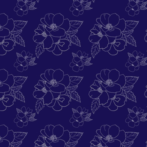 Rose line drawing on Navy