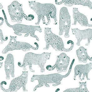 Drawn Leopards in White & Teal