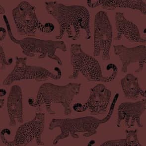 Drawn Leopards in Wine & Black