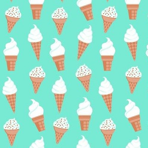 Vanilla Ice Cream Cones on Mint