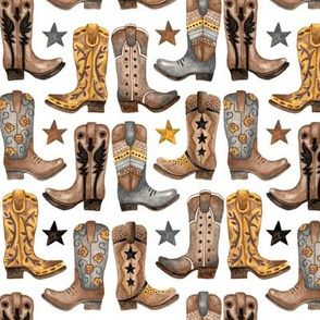 Watercolor Boots & Badges - Yellow