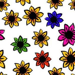 Embroidered Rainbow Flowers