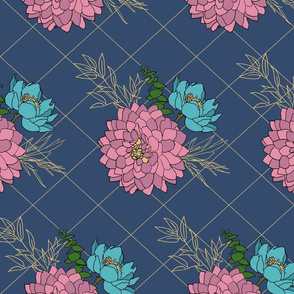 Peonies on a navi blue background | Golden Promises