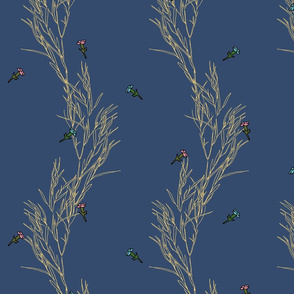 Meadow flowers on a nave blue background | Golden Promises