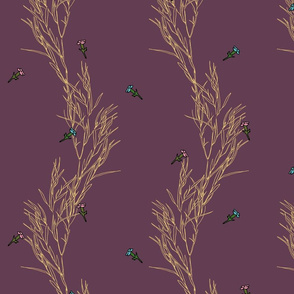 Meadow flowers on a burgundy background | Golden Promises