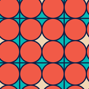 Red Circles | Modern stained glass tiles