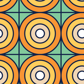 Orange Dots | Modern stained glass tiles