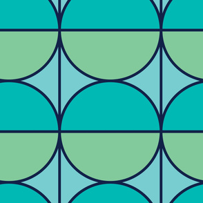 Green Circles | Modern stained glass tiles