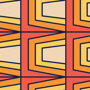 Orange Retro | Modern stained glass tiles