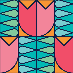 Tulips Stright | Modern stained glass tiles