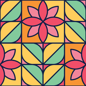 Pink Rose | Modern stained glass tiles