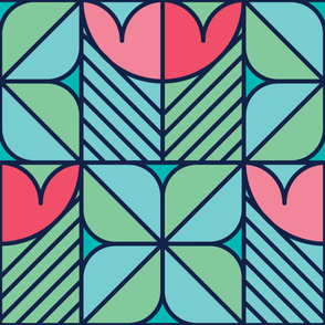 Wide Tulips | Modern stained glass tiles