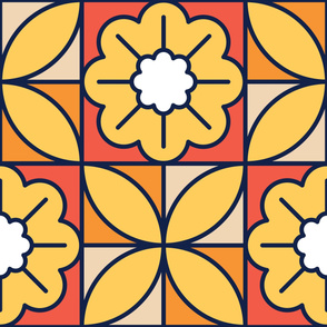 Yellow Chamomiles | Modern stained glass tiles