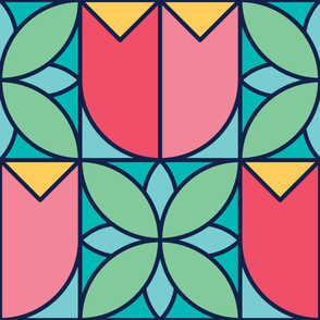 Half Tulips | Modern stained glass tiles