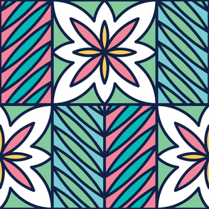 White Daisy | Modern stained glass tiles