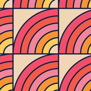 Pink Rainbow | Modern stained glass tiles