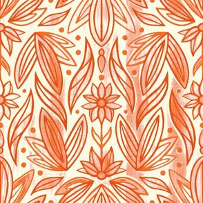 Rococo Peachy Orange Art Deco - Large Scale