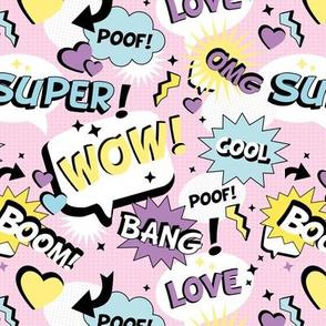 Retro Cartoon text design comic font wow cool love bang yellow mint pink lilac girls