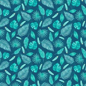 Blue tropical foliage