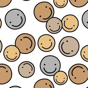 Pop art smiley design boho colored chat icon honey yellow beige gray boys