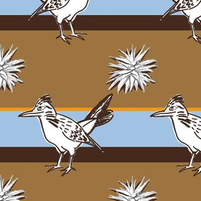 Roadrunner on brown and blue large