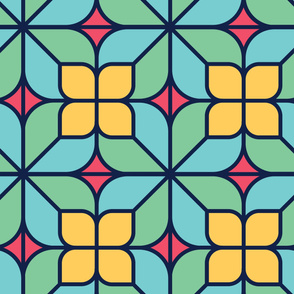 Retro Leaves | Modern stained glass tiles