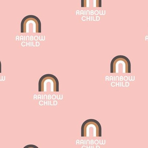 Sweet rainbow child boho wild child design nursery retro pink brown girls