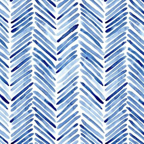 Classic blue herringbone - watercolor brush stroke abstract geometric painted pattern p307