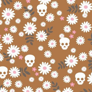 Boho daisies and skulls little mexican theme blossom dia de los muertos garden copper pink gray