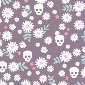 Boho daisies and skulls little mexican theme blossom dia de los muertos garden purple  lilac pink blue