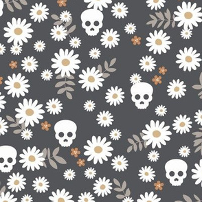 Boho daisies and skulls little mexican theme blossom dia de los muertos garden charcoal beige gray neutral