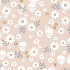 Boho daisies and skulls little mexican theme blossom dia de los muertos garden cream blush beige gray