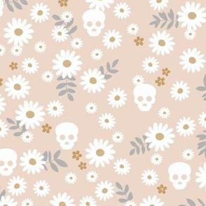 Boho daisies and skulls little mexican theme blossom dia de los muertos garden cream blush beige gray