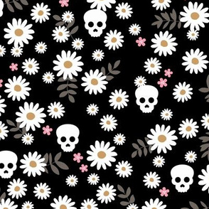 Boho daisies and skulls little mexican theme blossom dia de los muertos garden black white pink