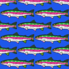 Mosaic Rainbow trout on deep blue