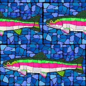 Mosaic Trout marbled blue back bg